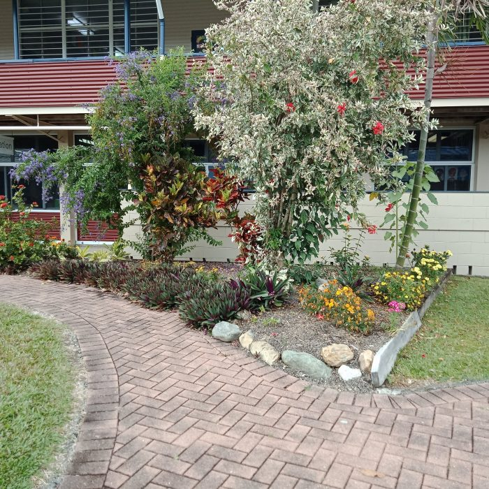 Bushes and Flowers at entry to school administration building